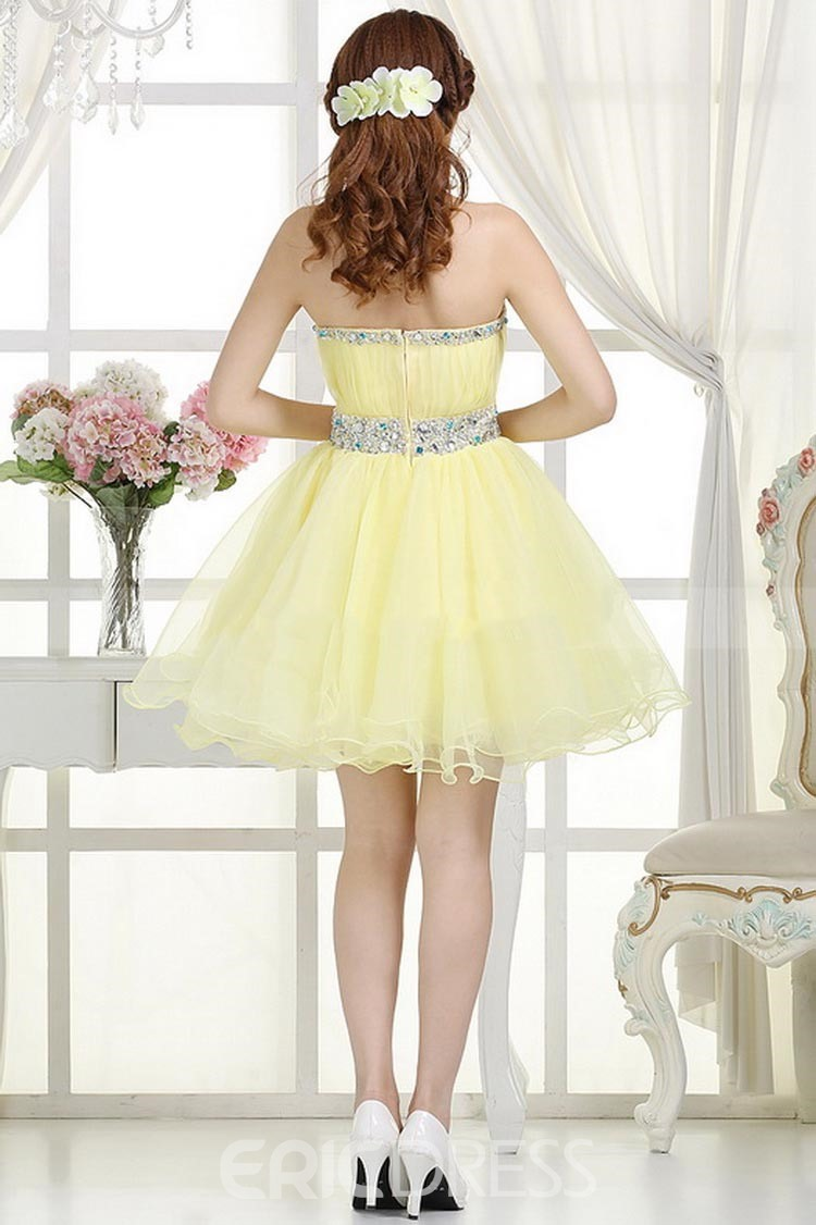 Exquisite Beaded A-Line Strapless Homecoming Dress