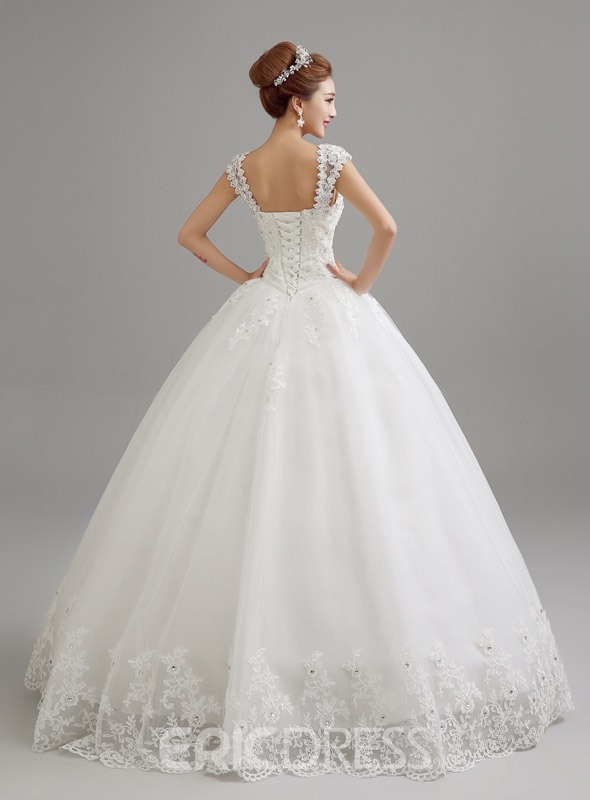 Classy Straps Appliques Ball Gown Wedding Dress