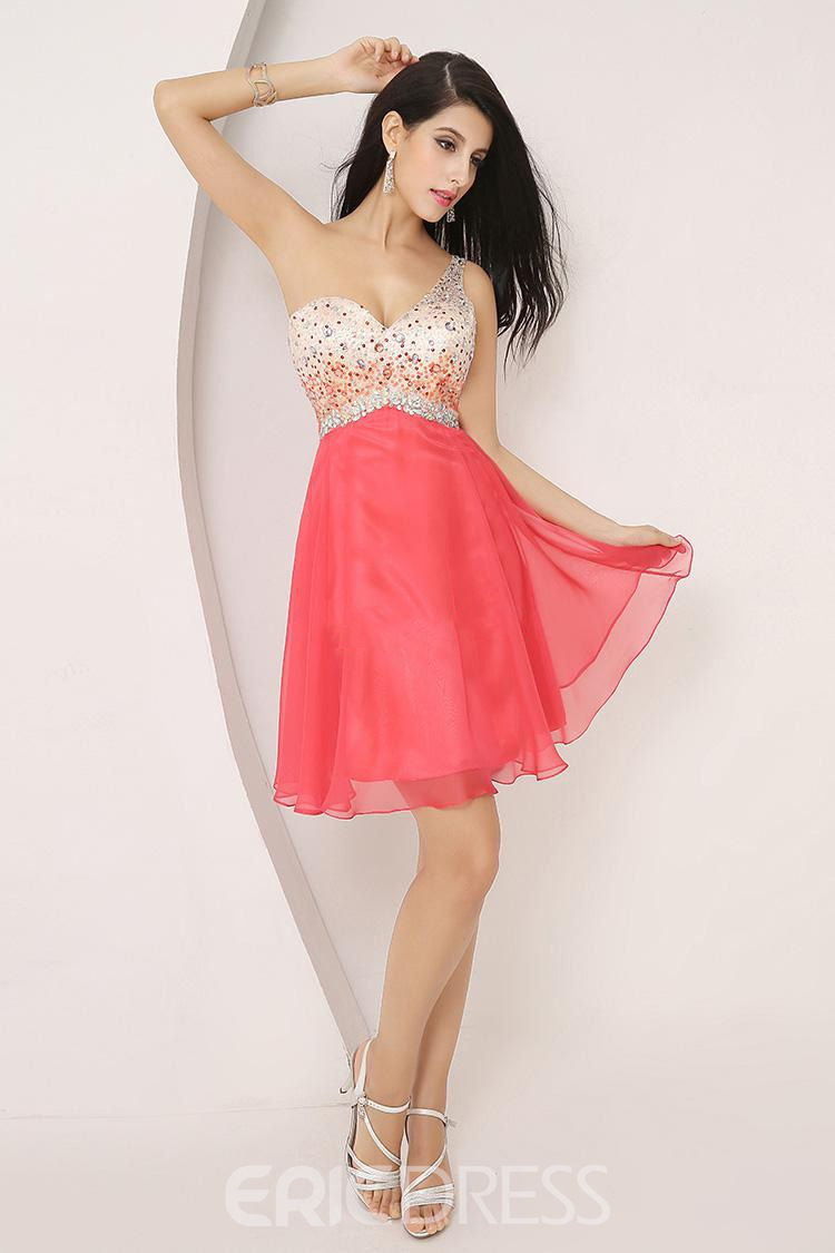 Stylish Colorful Beaded One-Shoulder Short Homecoming Dress