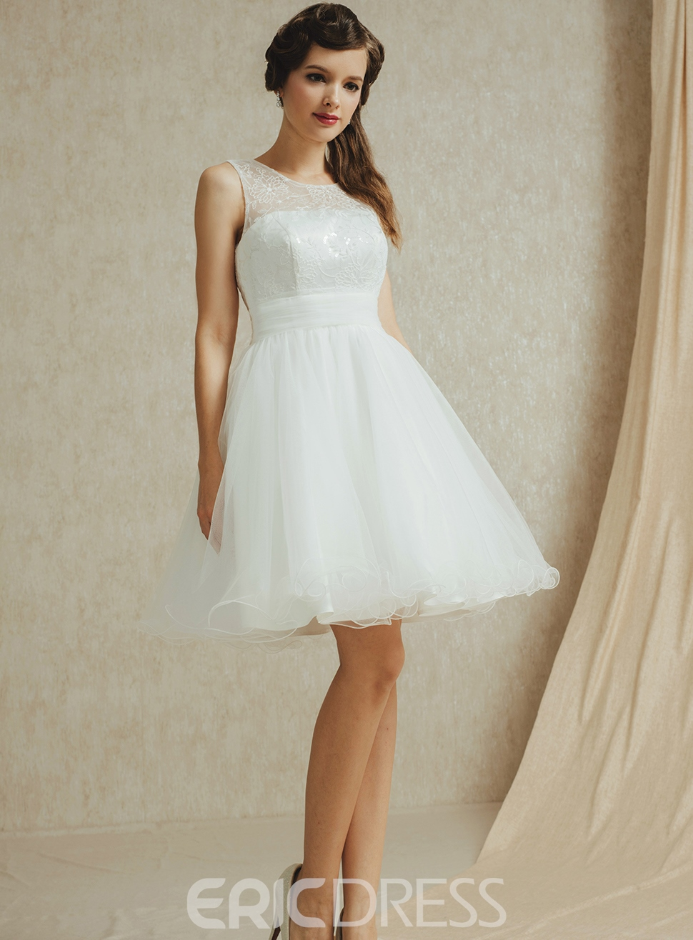 Simple A-Line Jewel Lace Short Bridesmaid Dress