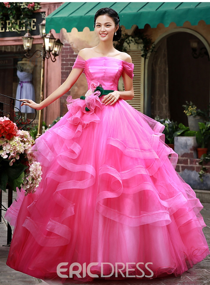 Latest Off Shoulder Cascading Ruffles Quinceanera Dress
