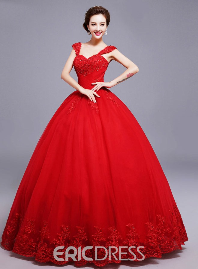 Ericdress Straps Beading Appliques Ball Gown Red Wedding Dress