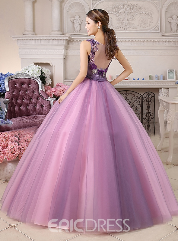A-Line V-Neck Appliques Tulle Back Floor-Length Prom/Quinceanera Dress