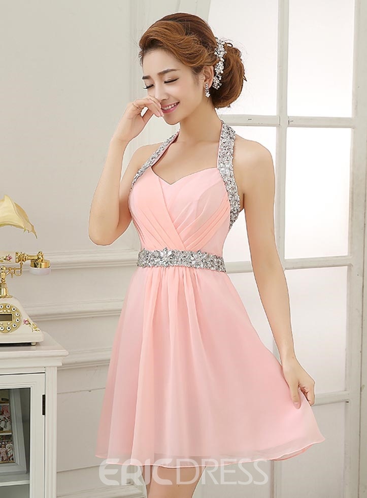 Glittering Halter Beading Short Homecoming Dress