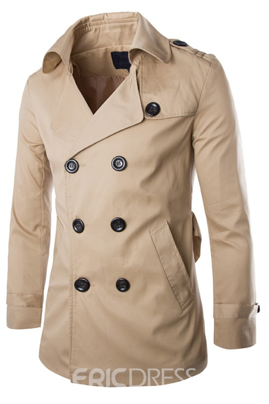 Lapel Double-Breasted Long Sleeves Men's Coat