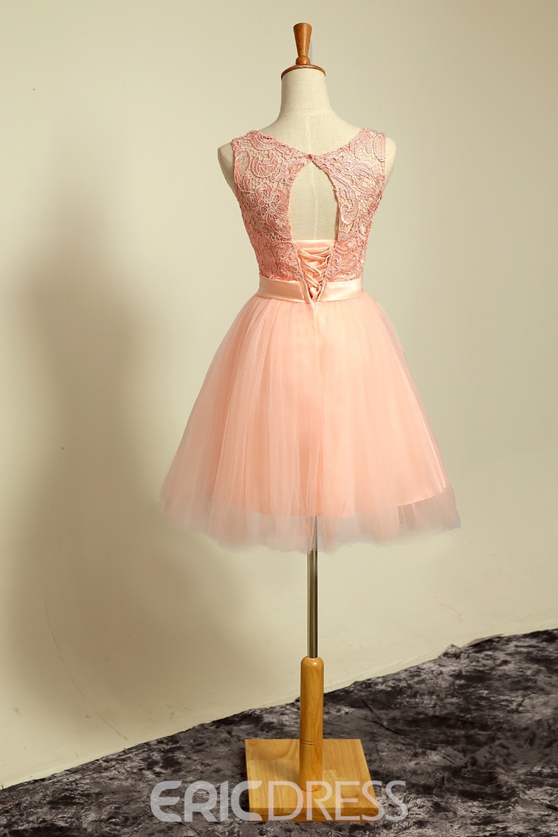 Fresh Scoop Lace Up Hollow Out Back Bow Homecoming/Sweet 16 Dress