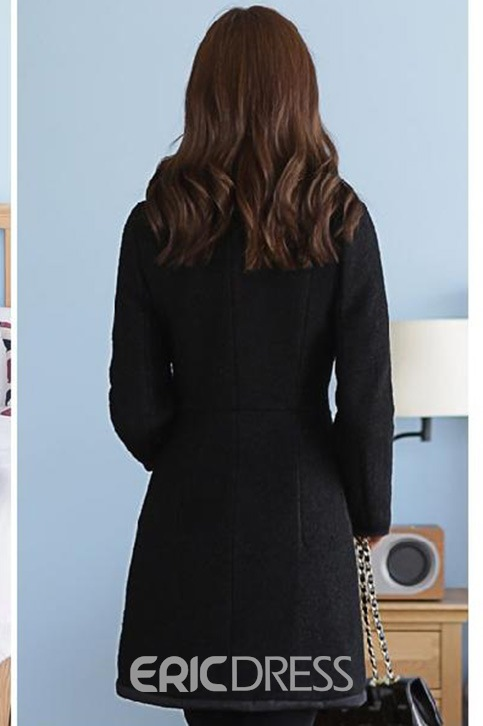 Ericdress Thick Solid Color Slim Coat