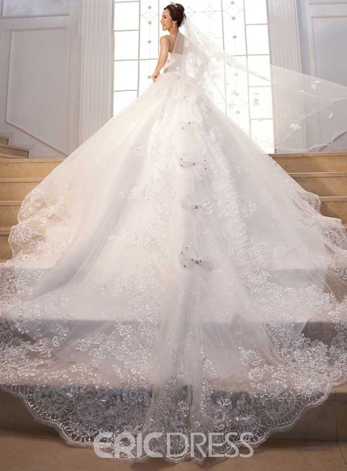 Ericdress Pretty Sweetheart Appliques Cathedral Train Wedding Dress