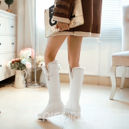 Sweet Comfortable Metal Decoration Knee High Boots