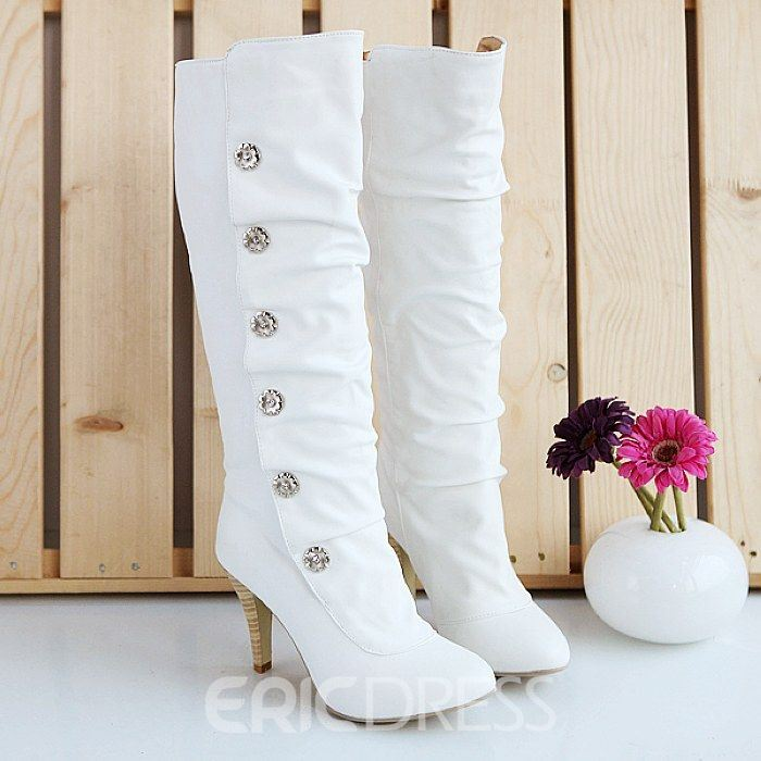 Korean Princeess Rhinestones Knee High Boots