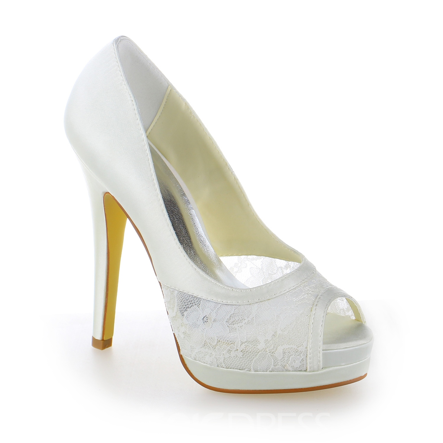 Vogue Lace Peep-Toe Stiletto Wedding Shoes