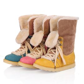 Korean Sweet Contrast Color Lace-up Ankle Boots