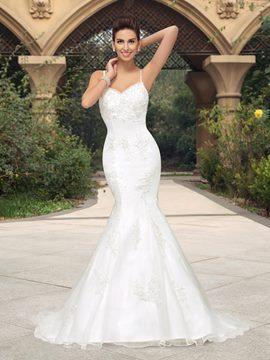 Charming Beading Applique Straps Mermaid Wedding Dress