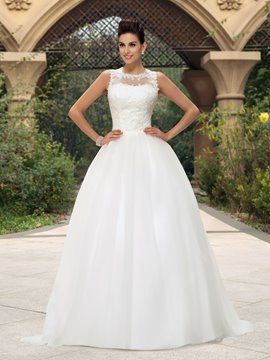 Dramatic A-Line Jewel Neckline Appliques Button Long Wedding Dress