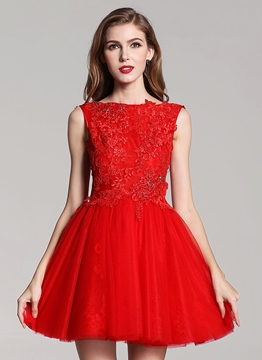 Ericdress A-Line Bateau Appliques Sequins Homecoming Dress