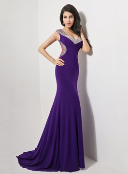 Timeless A-Line Sweep Train Backless Evening Dress