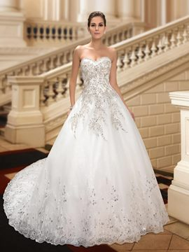 Ericdress Sweetheart Chapel Train Appliques Beading Wedding Dress
