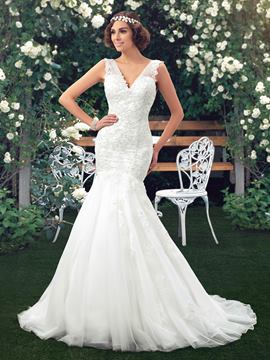 V-Neck Beading Applique Mermaid Wedding Dress