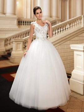 Beaded Lace Appliques V-Neck Straps Floor Length Ball Gown Wedding Dress