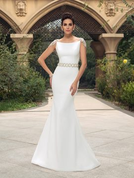 Mermaid Cap Sleeves Beading Long Wedding Dress