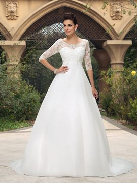 Classy Scoop Neckline Beading Wedding Dress with Sleeves