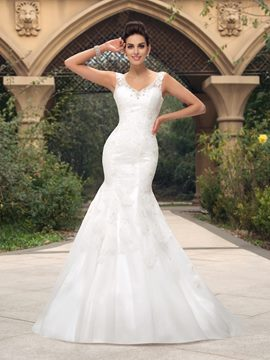 Ericdress V-Neck Beading Lace Mermaid Wedding Dress