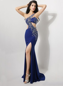 Sexy One-Shoulder Front-Split Sheath Evening Dress