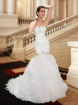 Ericdress Lace Beading Ruffles Mermaid Wedding Dress