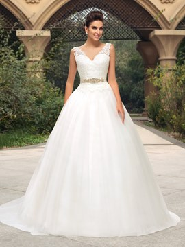 Classy Lace V-Neck Zipper-Up A-Line Court Train Wedding Dress