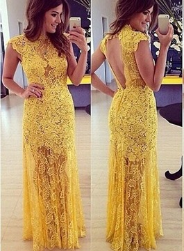 Admirable Open Back Floor-Length Lace Evening Dress