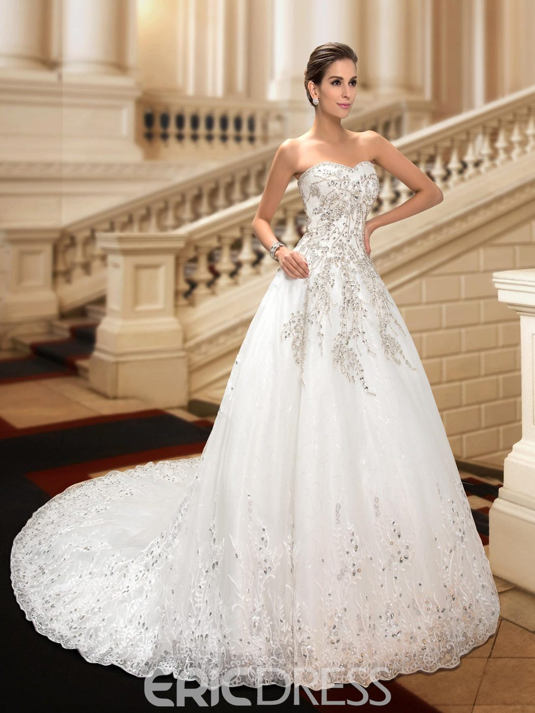 Classy Sweetheart Lace Chapel Train Wedding Dress