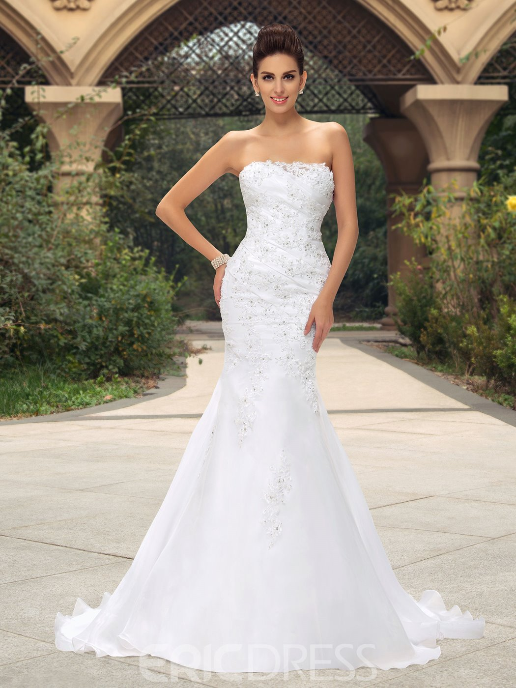 Glamorous Strapless Appliques Sequins Mermaid Wedding Dress 11129096 ...