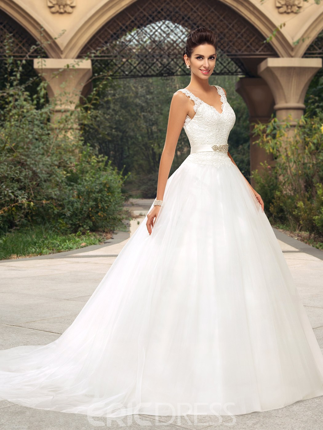 Classy Lace V-Neck Zipper-Up A-Line Wedding Dress