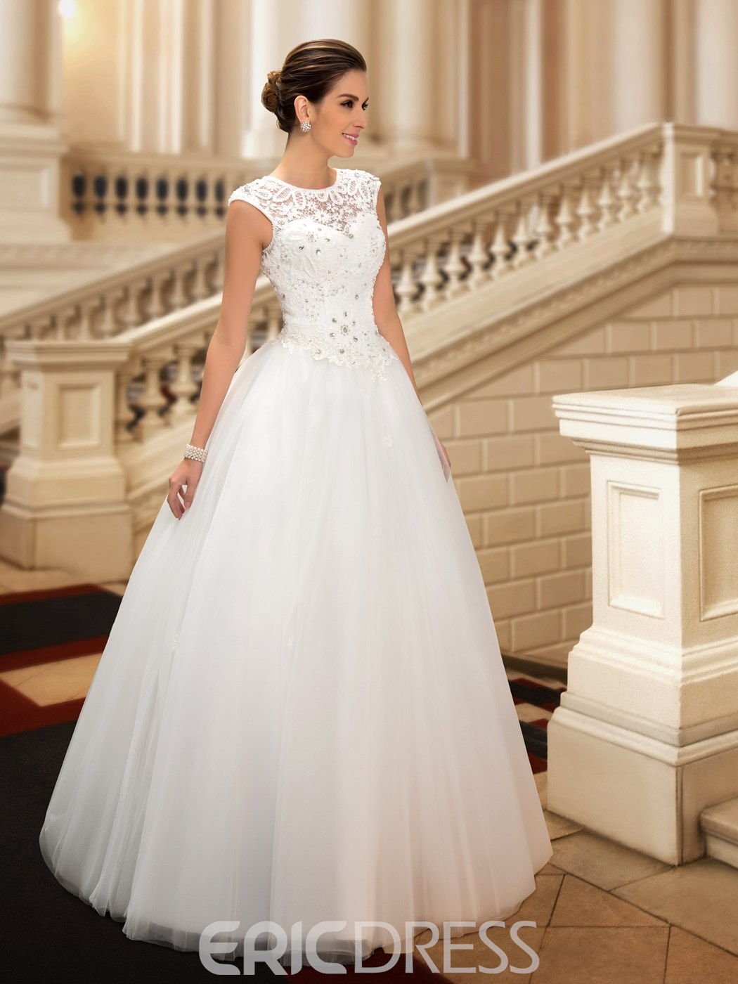 Classy Beaded Lace Jewel Neck Floor Length Princess Wedding Dress