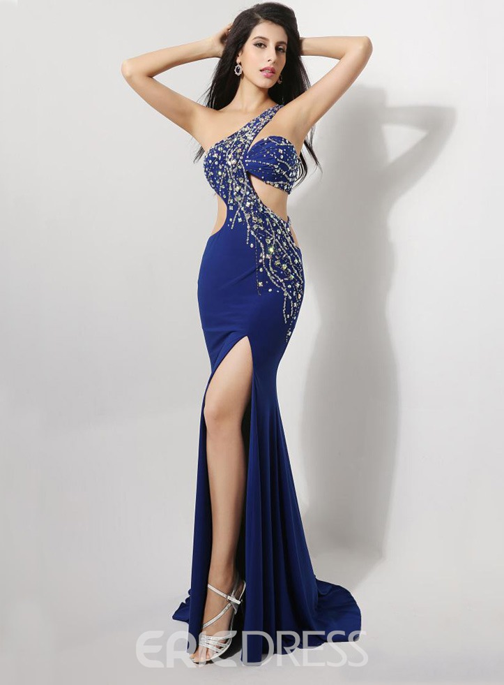 Sexy One-Shoulder-Front-Split-Mantel Abendkleid