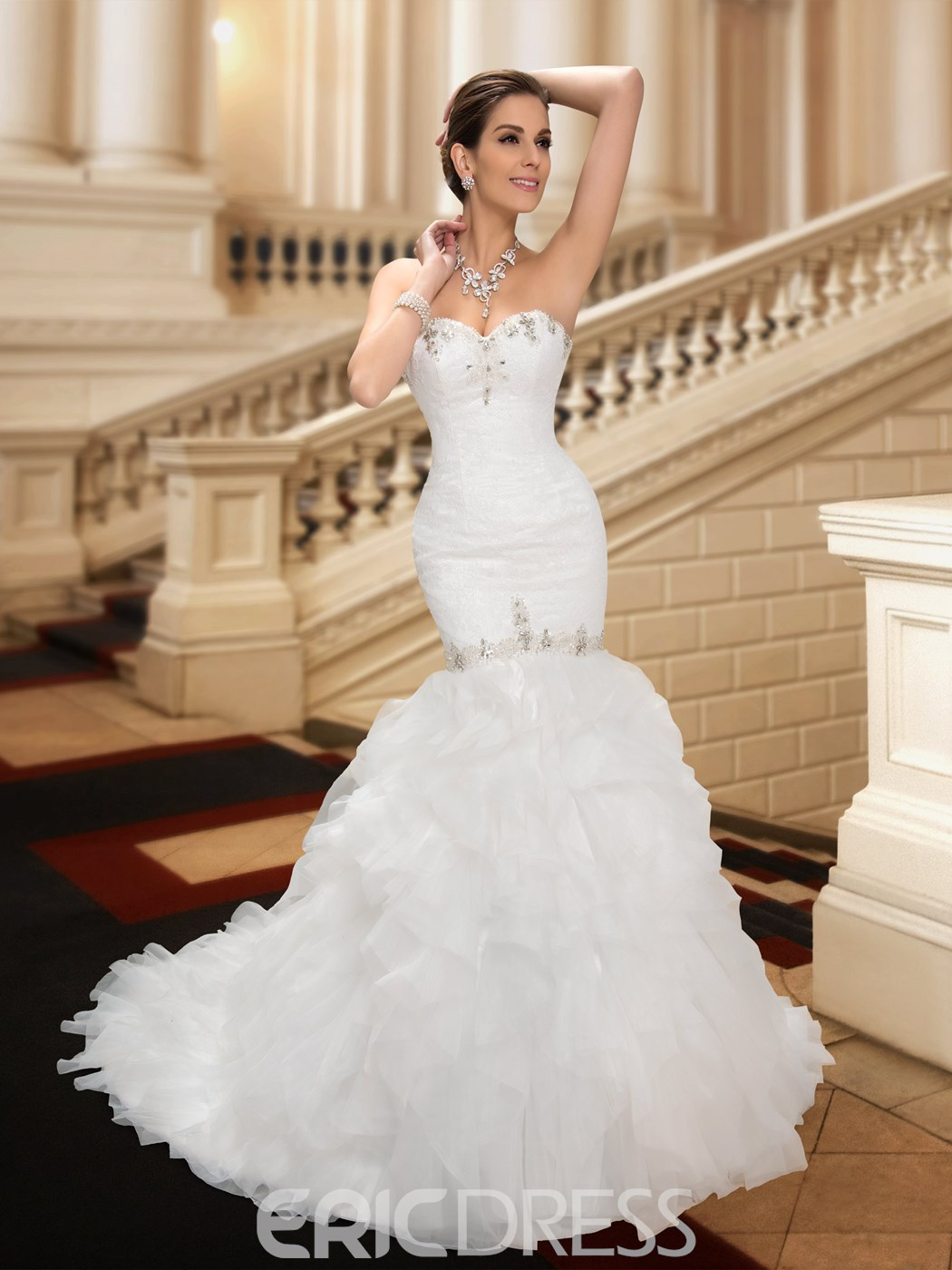 f7df3940b64c Ericdress Sweetheart Beading Ruffles Mermaid Wedding Dress 11123976 ...