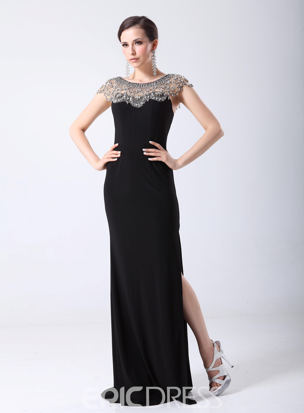 Classy Rhinestone Scoop Neck Split-front Black Long Evening Dress ...