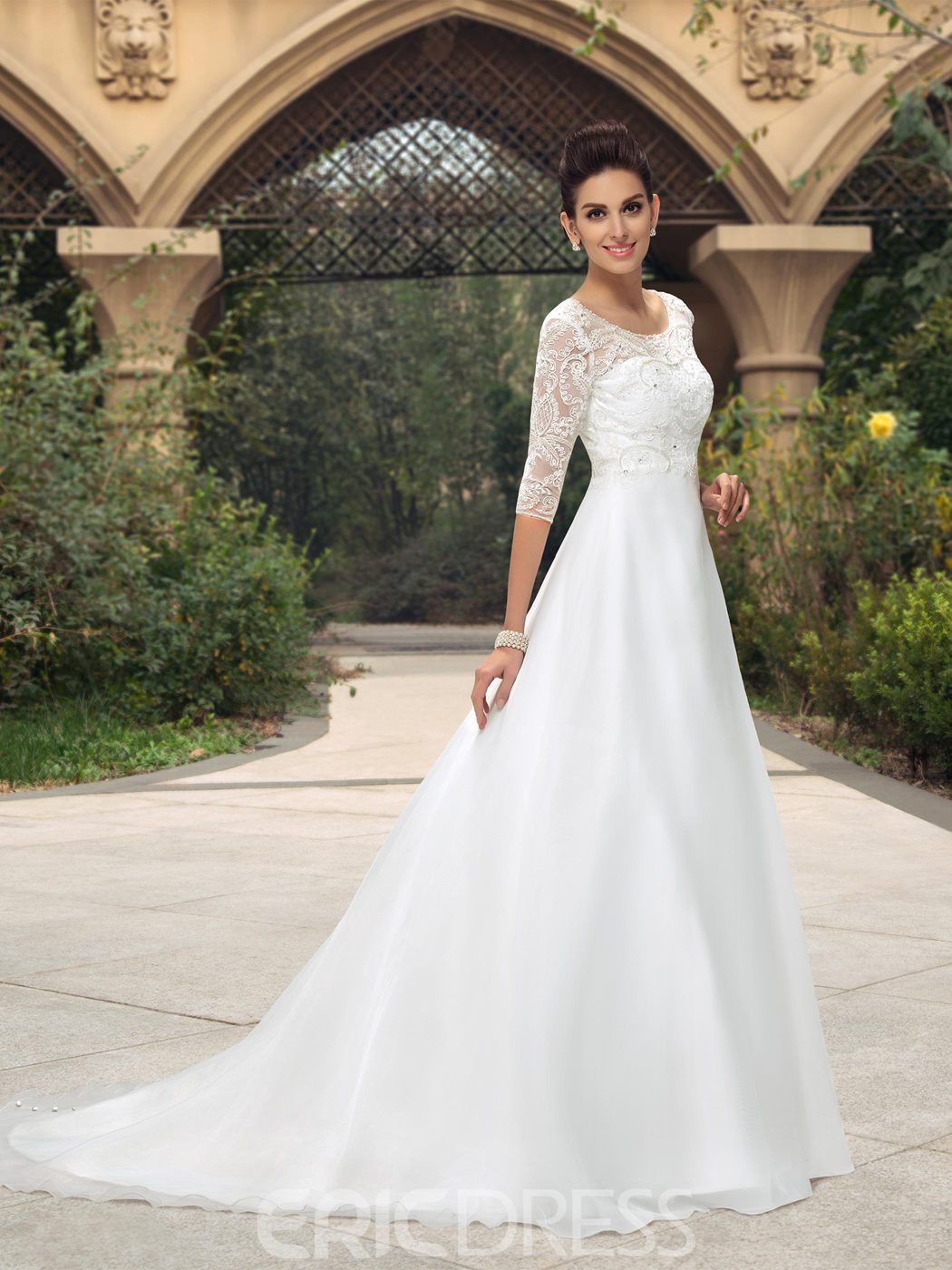 Scoop Neckline Beading Wedding Dress with Sleeves