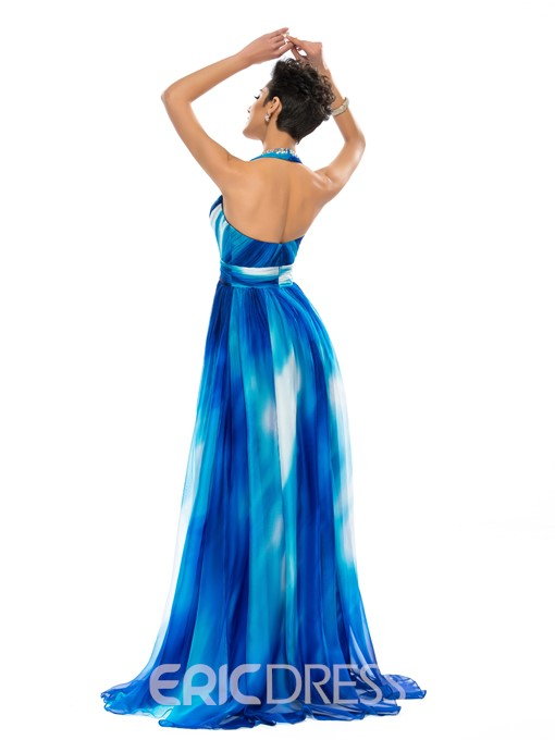 Ericdress Halter Beading Print Prom Dress