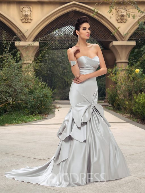 Ericdress Sweetheart Pick-Ups Mermaid Silver Wedding Dress