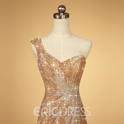 Stunning One-Shoulder Beaded Sequins Mermaid Evening Dress