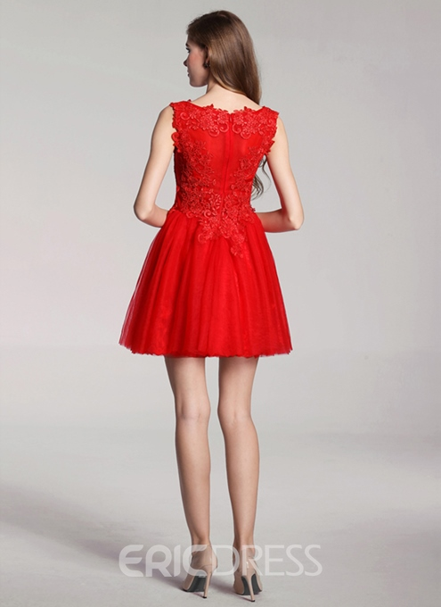 Ericdress A-Line Appliques Sequins Red Homecoming Dress