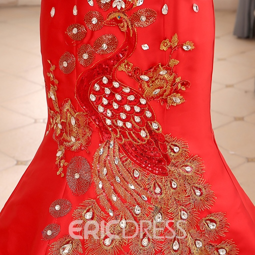 Beading Embroidery Court Train Evening Dress