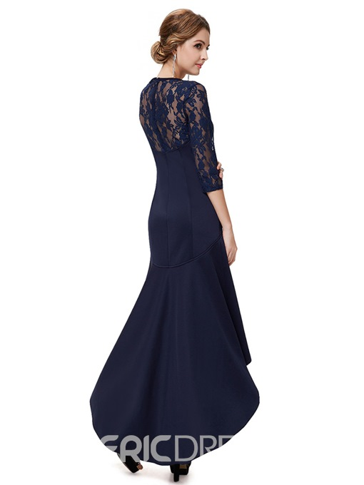 Ladylike High-Low Sheer 3/4 Long Sleeves Evening Dress