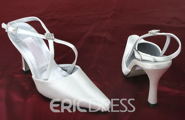 Vogue Point Toe Slinback Strap Satin Wedding Shoes