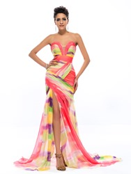 Glamorous Sweetheart Pattern Ruched Floor-Length Sweep Train Evening Dress thumbnail