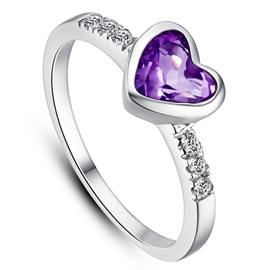 Ericdress Forever Love Ultra Violet Heart Women's Wedding Ring