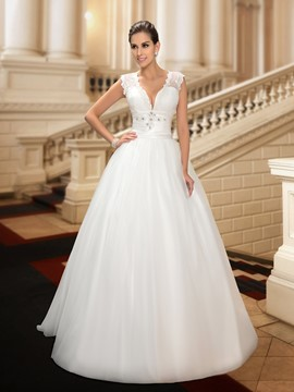 Sexy Deep V-Neck Button Sheer Back White A-Line Wedding Dress