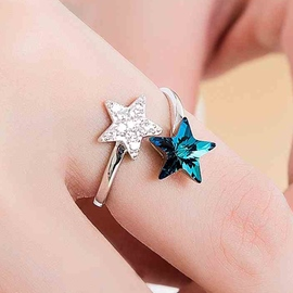 Ericdress Lucky Star Crystal Diamante Ring