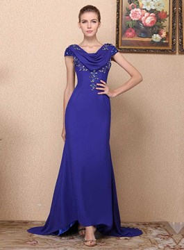 Classy Crystal Scoop Neck Short Sleeves Evening Dress